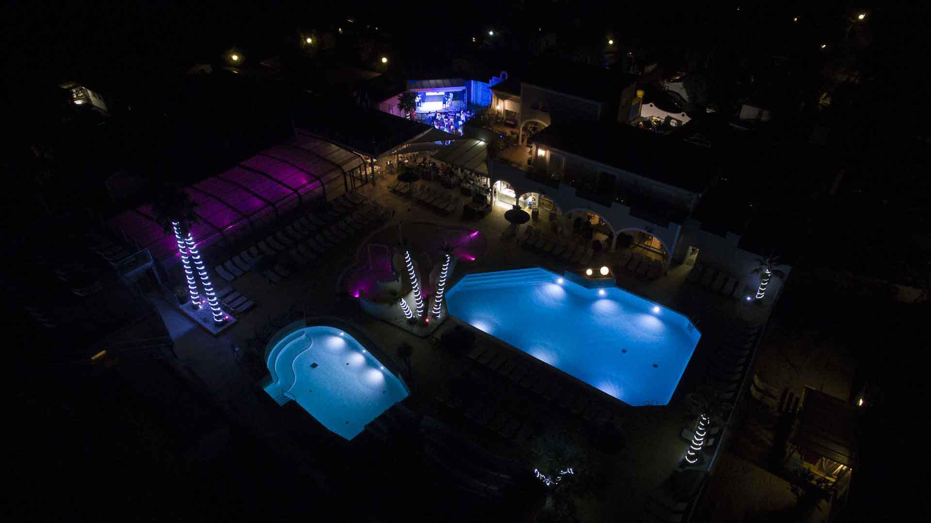Réalisation de photos aériennes de nuit Camping Hermitage Hérault